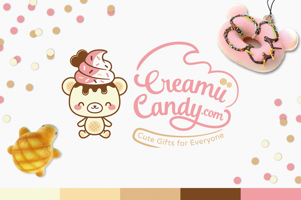 kawaii chibi ice cream bear logo