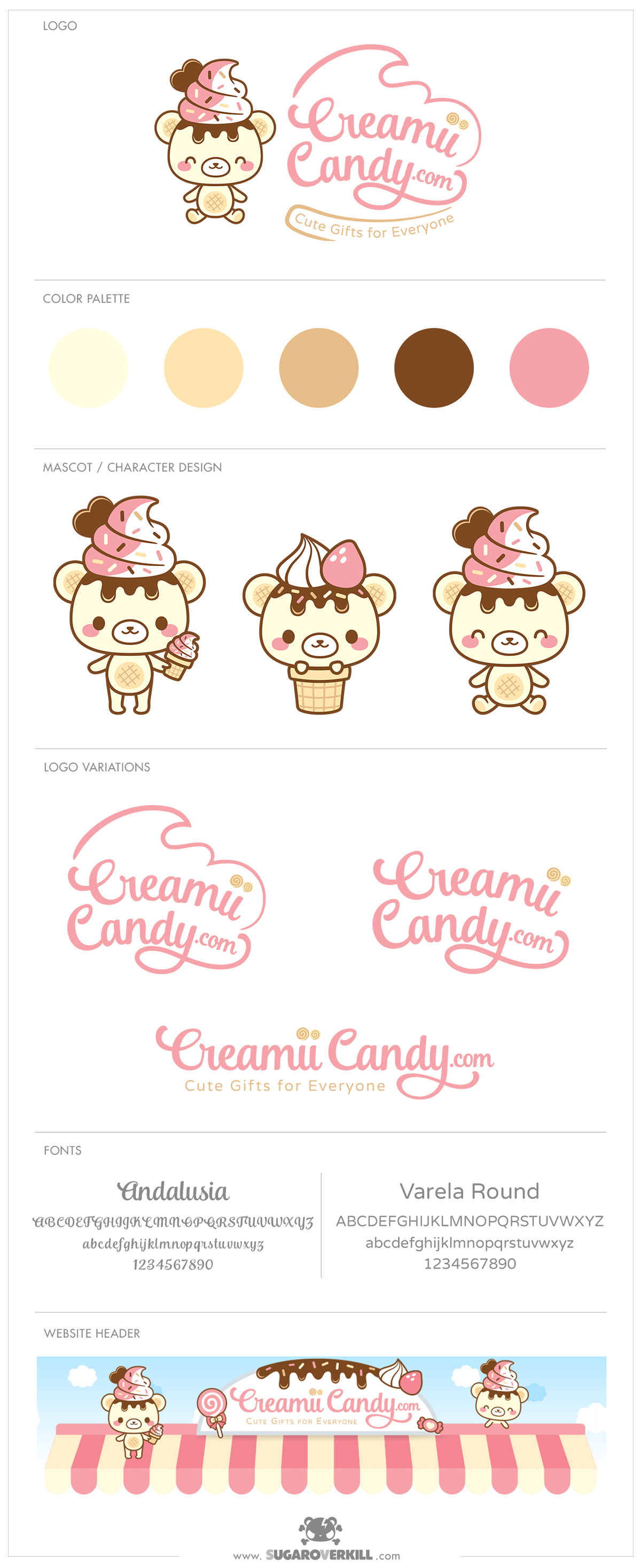 kawaii cute ice cream bear logo branding identity