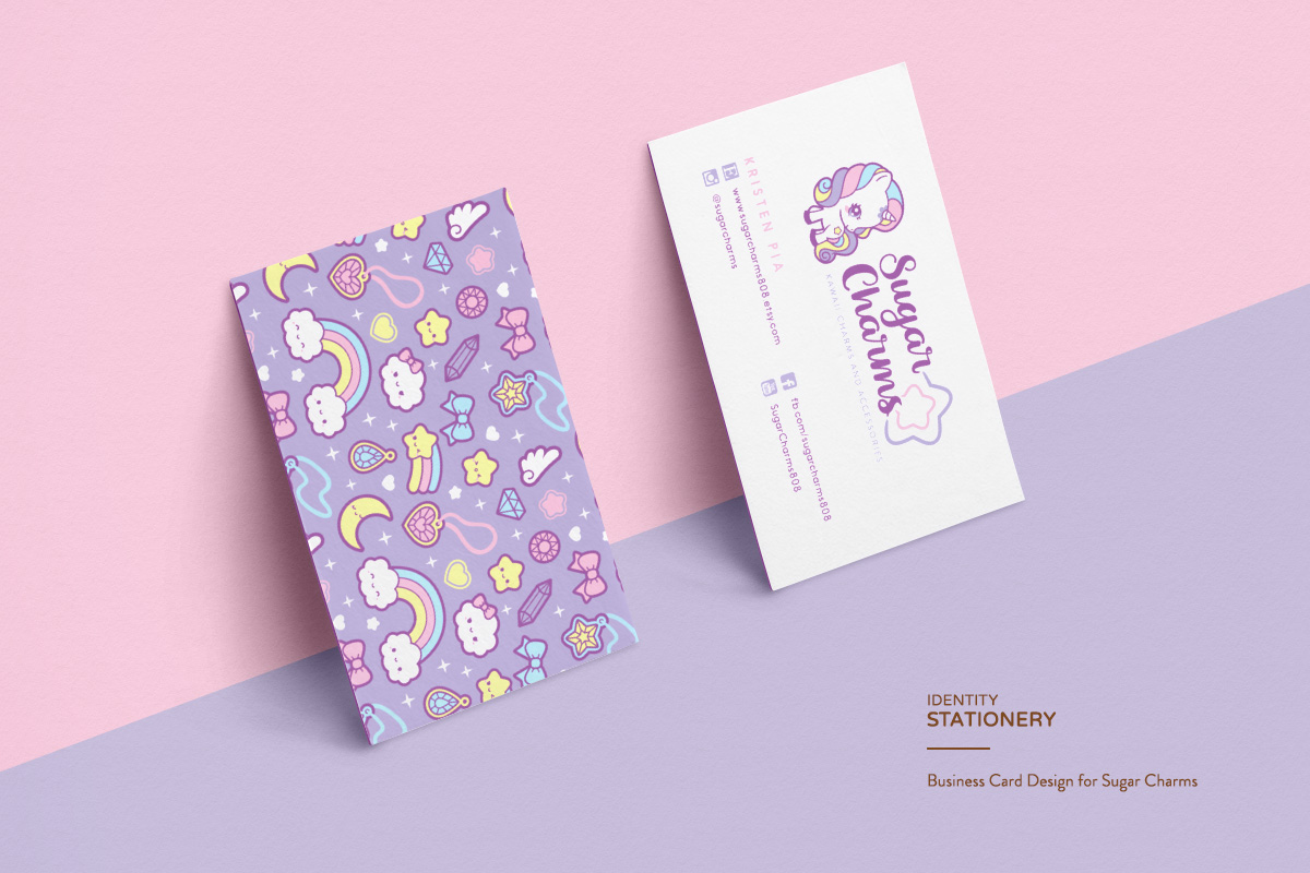 kawaii cute unicorn pastel rainbow business card logo