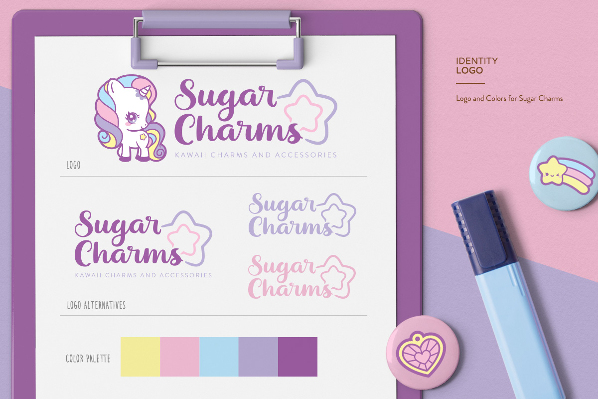 kawaii cute pastel unicorn star logo