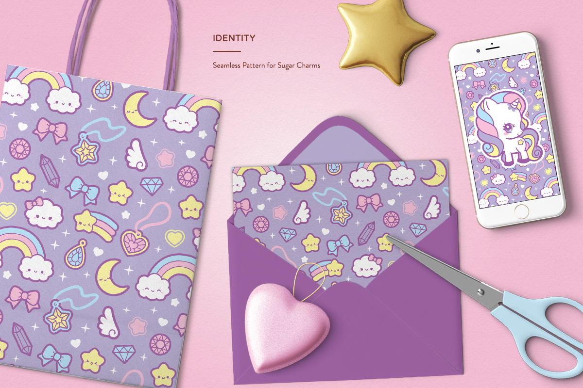 kawaii cute pastel unicorn rainbow pattern