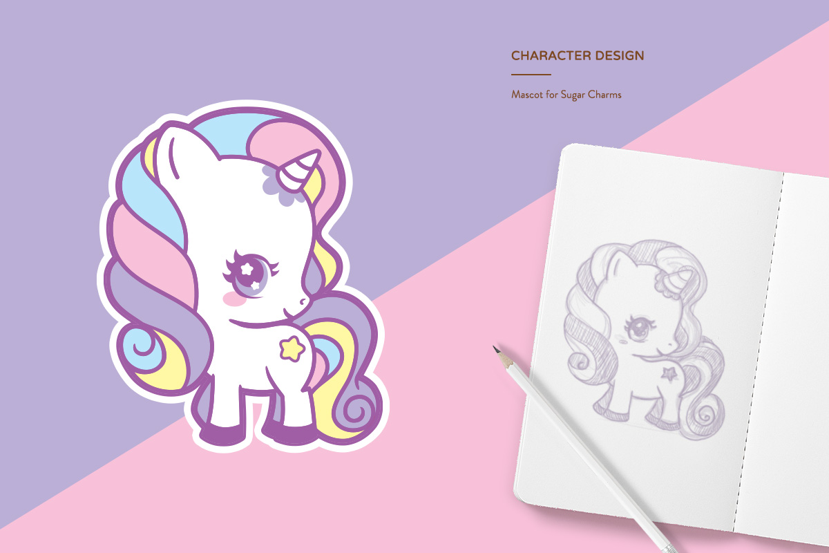 kawaii cute chibi unicorn rainbow pastel sketch drawing