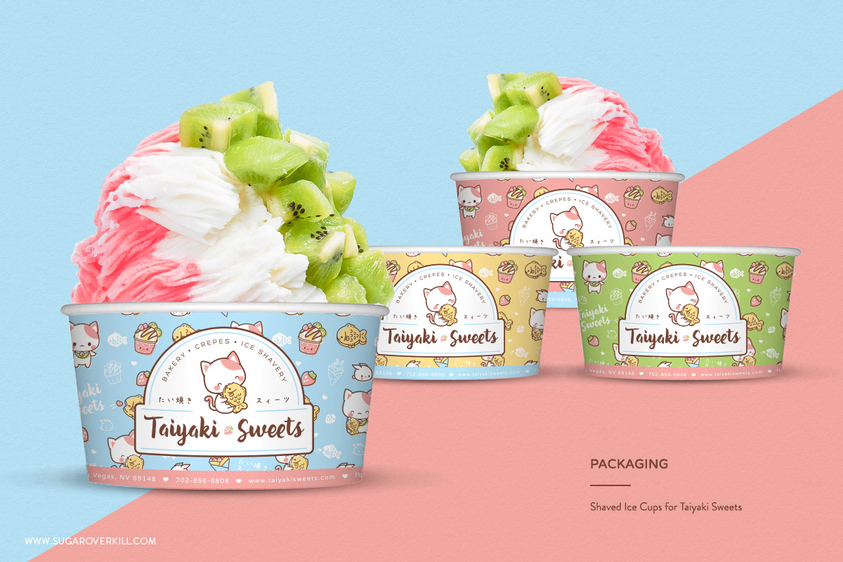 Japanese-Inspired Character Logo and Branding, Taiyaki Sweets, Kawaii Neko Cute Cat Eating Taiyaki Fish, Shaved Ice Cups, Packaging Design, Cup Design, Kawaii Cups, Frozen Yogurt Cups, Ice Cream Cups